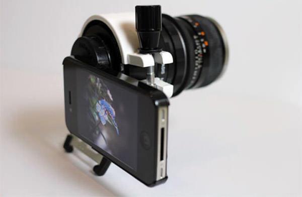 iPhone 4 con lente de DSLR
